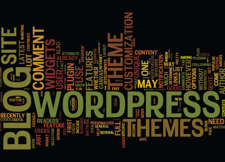 THE LATEST ON WORDPRESS THEMES Text Background Word Cloud Concept Ilustração