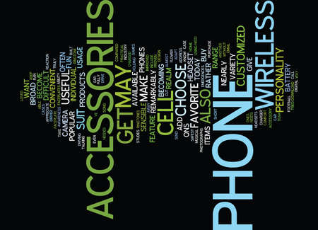 THE MOST PRACTICAL WIRELESS ACCESSORIES Text Background Word Cloud Concept
