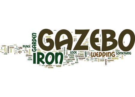 DAS EISEN GAZEBO Text Hintergrund Wort Wolke Konzept Standard-Bild - 82595507