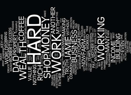 YOU MUST WORK HARD TO BE RICH MYTH OR TRUTH Text Background Word Cloud Concept Illustration