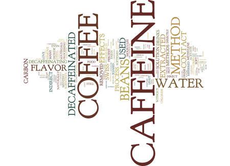 DECAFFEINATED 커피의 신화 텍스트 배경 단어 구름 개념 일러스트