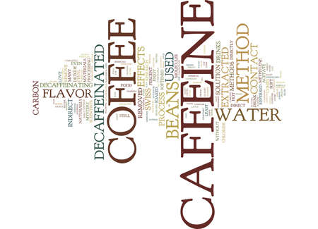 THE MYSTERY OF DECAFFEINATED COFFEE Text Background Word Cloud Concept