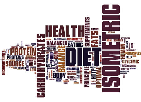 THE ISOMETRIC DIET AND BALANCED HEALTH Text Background Word Cloud Concept