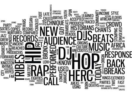 THE ORGINS OF RAP AND HIP HOP MUSIC Text Background Word Cloud Concept