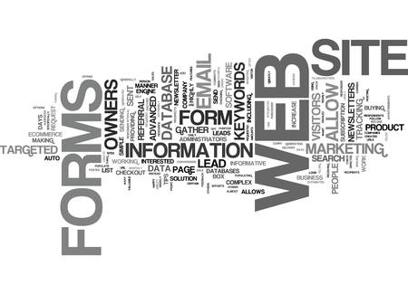 THE POWER OF WEB FORMS Text Background Word Cloud Concept Ilustrace