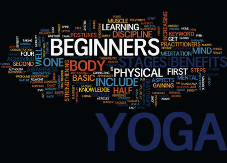 YOGA FOR BEGINNERS YOGA TECHNIQUES ON THE LOOSE Text Background Word Cloud Concept Çizim