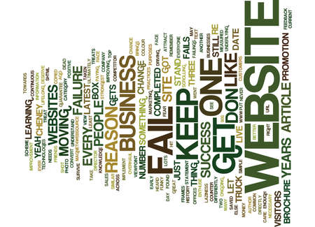THE NUMBER ONE REASON MOST WEBSITES FAIL Text Background Word Cloud Concept Ilustração
