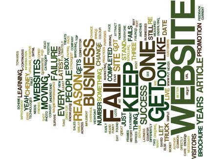 THE NUMBER ONE REASON MOST WEBSITES FAIL Text Background Word Cloud Concept Ilustração