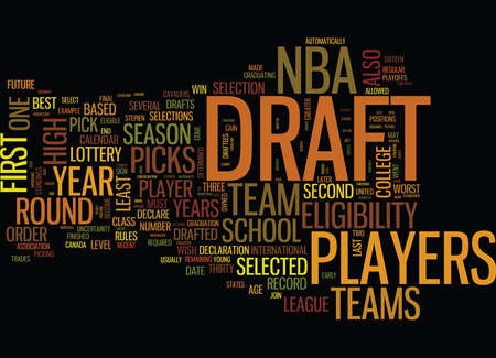 nba: THE NBA DRAFT Text Background Word Cloud Concept