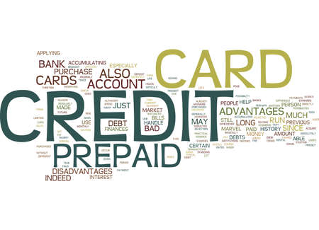 THE MARVEL OF A PREPAID CREDIT CARD Text Background Word Cloud Concept