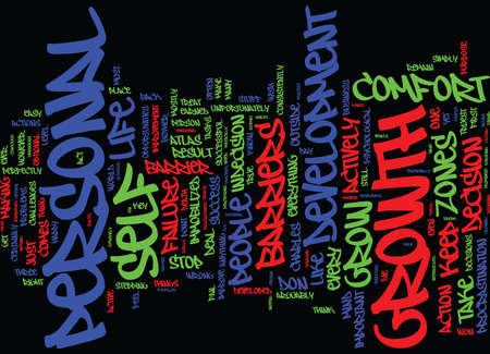 THE MOST PROMINENT PERSONAL GROWTH BARRIERS Text Background Word Cloud Concept Illustration