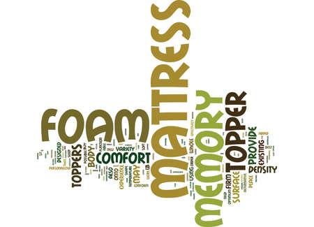 THE MEMORY FOAM MATTRESS TOPPER Text Background Word Cloud Concept