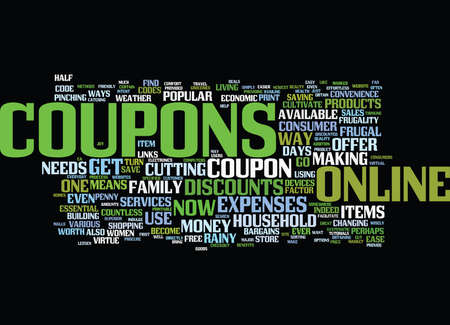 THE JOY OF ONLINE COUPONS Text Background Word Cloud Concept Фото со стока - 82595383