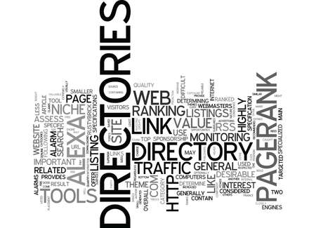THE POWER OF WEB DIRECTORIES Text Background Word Cloud Concept