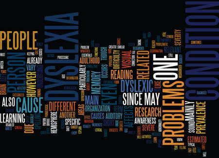 THE ESSENTIALS ON ADULT DYSLEXIA Text Background Word Cloud Concept