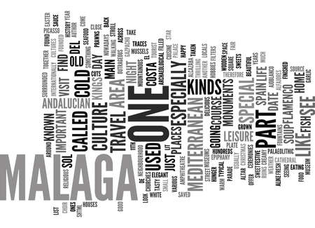 THE PERFECT OPPORTUNITY TO ADMIRE MALAGA Text Background Word Cloud Concept