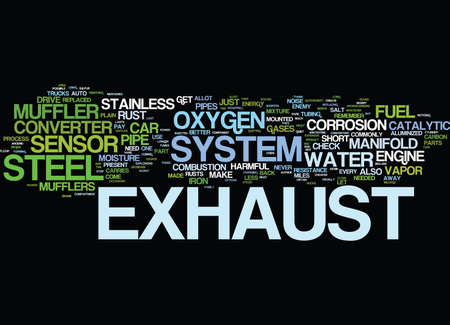 hydrocarbons: THE EXHAUST SYSTEM Text Background Word Cloud Concept