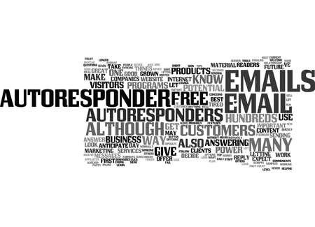 HET KRACHT VAN AUTORESPONDERS Tekst Achtergrond Word Cloud Concept Stockfoto - 82595285