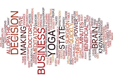 YOGA FOR BUSINESS PEOPLE ENHANCE YOUR BUSINESS ACUMEN Text Background Word Cloud Concept