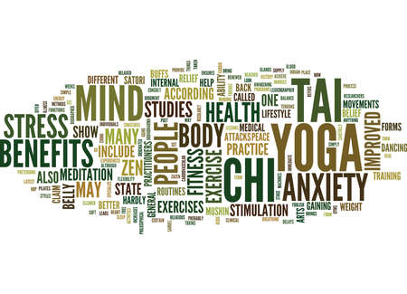 YOGA TAI CHI AND THE STATE OF ZEN Text Background Word Cloud Concept