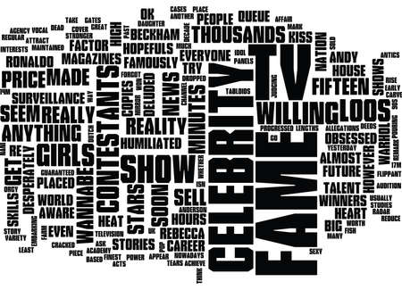 THE PRICE OF FAME Text Background Word Cloud Concept