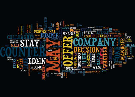 YOU RESIGNED YOU WERE GIVEN A COUNTER OFFER NOW WHAT Text Background Word Cloud Concept