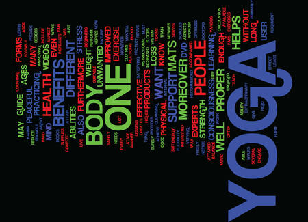 YOGA PRODUCTS Text Background Word Cloud Concept