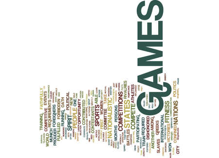 THE POLITICS BEHIND OLYMPICS GAMES Text Background Word Cloud Concept Vettoriali