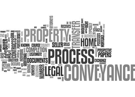 signing: THE PROCESS OF CONVEYANCE Text Background Word Cloud Concept
