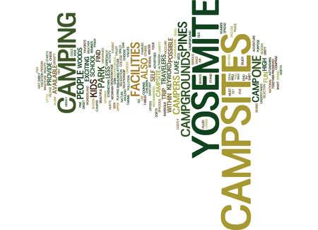 YOSEMITE CAMPSITES Text Background Word Cloud Concept