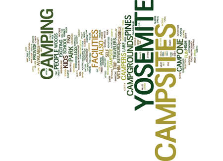 YOSEMITE CAMPSITES Text Background Word Cloud Concept