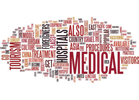 THE MEDICAL TOURISM HOTSPOTS Text Background Word Cloud Concept