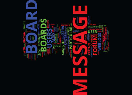 THE NATURE OF MESSAGE BOARDS Text Background Word Cloud Concept