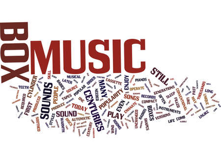 THE MUSIC BOX GIVES OLD SOUNDS NEW LIFE Text Background Word Cloud Concept