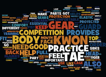 THE MOST COMMON TAE KWON DO GEAR Text Background Word Cloud Concept