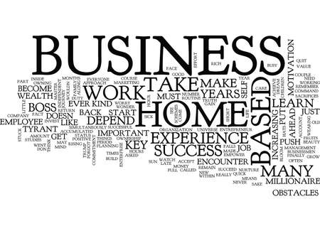 THE KEY TO SUCCESS IN YOUR HOME BASED BUSINESS Text Background Word Cloud Concept