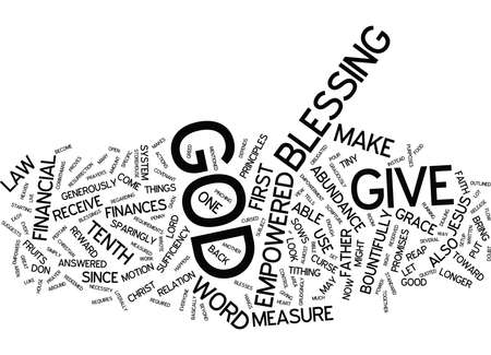 YOU ARE EMPOWERED BY GOD IN YOUR FINANCES Text Background Word Cloud Concept