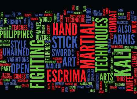 THE MARTIALARM INTRO TO ARNIS Text Background Word Cloud Concept