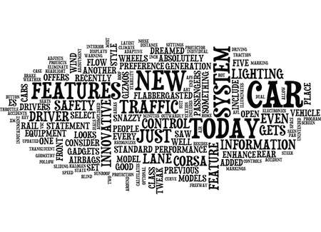 THE LATEST AND GREATEST CAR FEATURES Text Background Word Cloud Concept