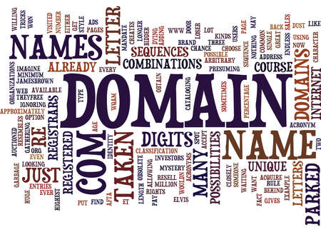 THE MYSTERY BEHIND DOMAIN NAMES Text Background Word Cloud Concept