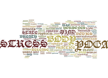 YOGA A CURE FOR MODERN DAY STRESS Text Background Word Cloud Concept