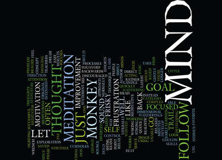THE MIND IS LIKE A FRISKY MONKEY Text Background Word Cloud Concept