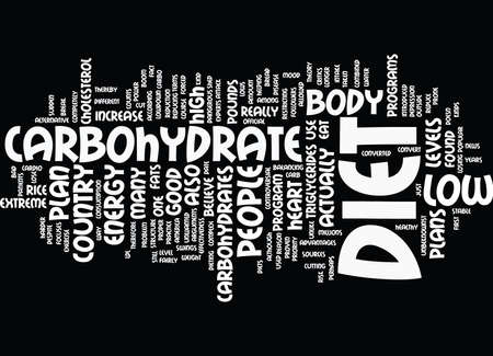 THE LOWDOWN ON LOW CARBOHYDRATE DIET PLAN Text Background Word Cloud Concept