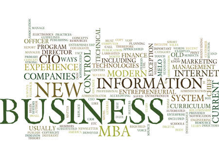 THE NEW WAYS TO DO THE BUSINESS MBA OR CIO Text Background Word Cloud Concept Ilustração