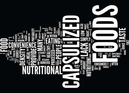 THE POWER OF CAPSULIZED FOODS Text Background Word Cloud Concept