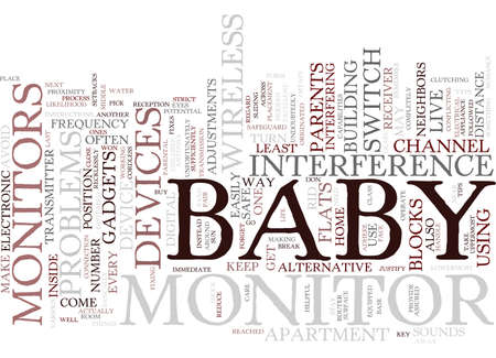 THE PROBLEMS BEHIND BABY MONITORS IN BLOCKS OF FLATS Text Background Word Cloud Concept Иллюстрация