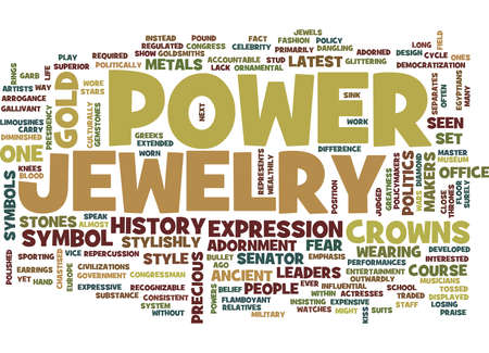 THE POWER OF JEWELRY Text Background Word Cloud Concept