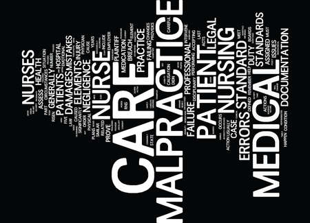 THE NURSE S MEDICAL MALPRACTICE PRIMER Text Background Word Cloud Concept