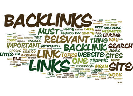 THE IMPORTANCE OF RELEVANT BACKLINKS Text Background Word Cloud Concept
