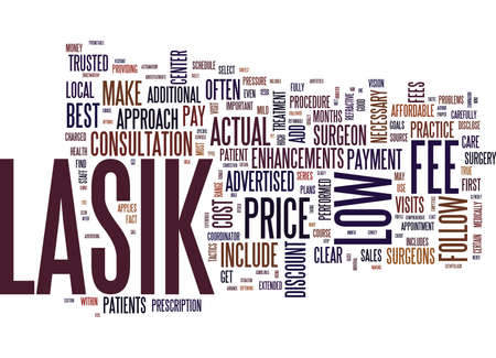 THE MYTH OF LOW COST LASIK Text Background Word Cloud Concept